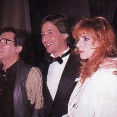 Claude Nougaro, Patrick Sabatier et Mylène Farmer aux Victoires de la Musique en novembre 1988 à Paris, France