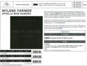 Mylène Farmer Appelle mon numéro Bon de précommande France