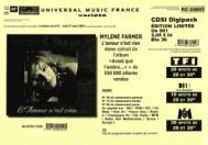 Mylène Farmer L'Amour n'est rien... Bon de précommande CD Single