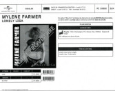 Mylène Farmer Lonely Lisa Bon de précommande CD Single