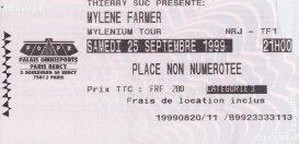 Mylène Farmer Mylenium Tour - Ticket Paris-Bercy 25 septembre 1999