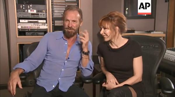 Sting et Mylène Farmer en interview aux Etats-Unis en septembre 2015