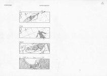 """Extrait du story-board de Patrice Musson du clip de Mylène Farmer """"Je te rends ton amour"""" réalisé par François Hanss"""