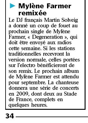 Mylène Farmer - Presse - Le Parisien - 17 juin 2008