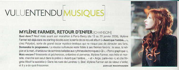 Mylène Farmer Presse Madame Figaro 29 avril 2005