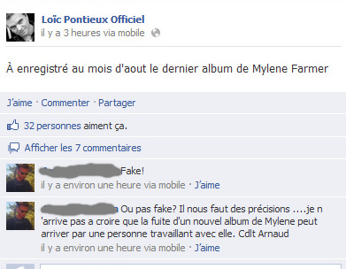 Message Facebook Loic Pontieux Nouvel album Mylène Farmer