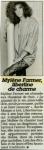 Mylène Farmer Femme Actuelle 30 juin 1986