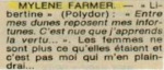 Mylène Farmer La Nouvelle République du Centre Ouest 02 Juillet 1986