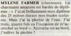 Mylène Farmer 7 à Paris 20 juillet 1987