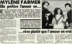 Mylène Farmer Presse France Dimanche 21 mars 1988