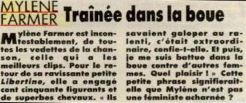 Mylène Farmer Presse Intimité 12 novembre 1988