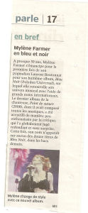 Mylène Farmer Presse La Nouvelle République 05 décembre 2010