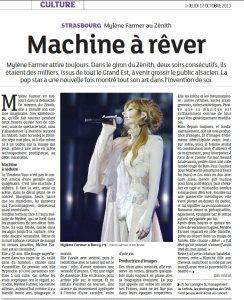 Mylène Farmer Presse Les Dernières Nouvelles d'Alsace 17 octobre 2013
