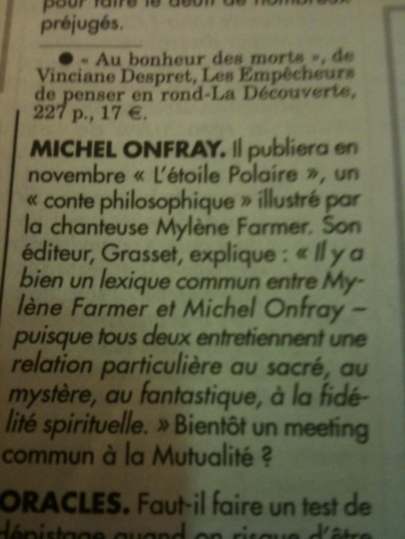 Mylène Farmer Michel Onfray - Le Canard Enchaîné - 14 octobre 2015